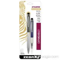 Zebra StylusPen Telescopic Ballpoint Pen  Medium Point  1.0mm  Black Ink  Grey and Navy Barrels  2-Count - B00NACZB1S