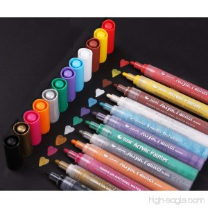 Acrylic Paint Pen for Ceramic Painting - Permanent Acrylic Marker Pens for Rock Painting Glass Porcelain Mug Wood Fabric Canvas Craft Projects Set of 12 Colors - B072KKZ5BX