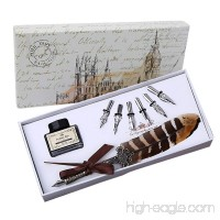 Feather Quill Pen Set Dip Pen with Ink Vintage Feather Calligraphy Ink Pen Quill Fountain Pen in Gift Box with 6 PCS Nibs  Birthday Wedding Christmas Gift Set - B07DNJ5V1H