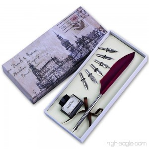 FEATTY Quill Pen Set Antique Dip Feather Pen Calligraphy Writing With 6 PCS Nibs (wine red) - B01M6XTPLH