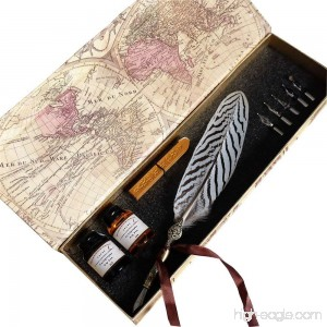 GC Quill Feather Pen-2 Bottle Ink-100% Hand Craft-Copper Pen Stem-Dip Quill Pen for Harry Potter Fan - B01B2OW4PQ