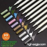Metallic Markers - Art Calligraphy Pens(Brush-Tip)  for Rock Painting  Black Paper  Script Lettering  10 Colors/Set - B07BQZZ5LD