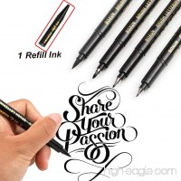 Refill Calligraphy Brush Pens for Lettering - 4 Size Black Ink Pen Set for Beginners Writing  Signature  Illustration  Design and Drawing  (1 Refill Ink Include) - B07D7MJKV3