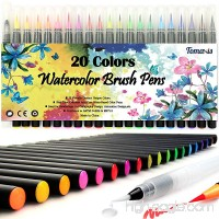 Tomaxis Watercolor Brush Pens Art Markers  Art Supplies 20Pcs Brush Marker Pens Colored Pens Script Paintbrush for Calligraphy with 1 Water Paintbrush Felt Tip Pen - B07CDQVYD4