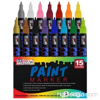 Water Based Premium Paint Pen Markers from U.S. Art Supply - 15 Color Set of Extra Fine Point Tips - Permanent Ink - Works on Most Surfaces Glass  Wood  Metal  Rubber  Rocks  Stone  Arts & Crafts - B0773VYWPD