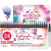 Watercolor Brush Pens Soft Tip Markers Set 24 Colors+ 1 Water Brush Blending Pen + Bonus 15 Sheet Watercolor Paper Pad Sketch Book for Calligraphy Comic Manga Kids Drawing Adult Coloring Painting Kit - B07BHKZLN2