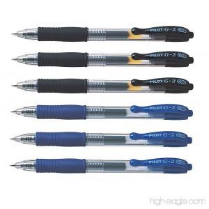 Pilot G2 pens retractable Gel Roller ballpoint 0.38 pt Black & Blue Bundle (Pack of 6) - B07D8JT84T