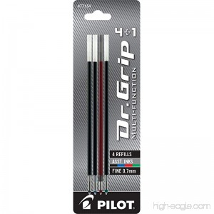 Pilot Dr. Grip 4+1 Multi-Function Ballpoint Ink Refills Fine Point Pack of 4 One Each Black/Red/Blue/Green (77154) - B00WMDRC72
