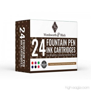 Wordsworth & Bläck Fountain Pen Ink Cartridges - VARIETY COLORS: Black Blue Green Purple Red Pink - Short International Standard Size - Disposable and Generic Ink Refill Cartridges - B07342G144