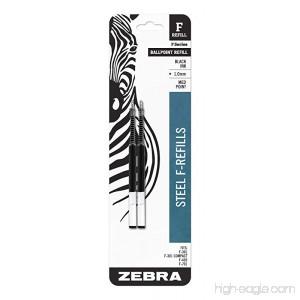 Zebra F-Series Ballpoint Stainless Steel Pen Refill Medium Point 1.0mm Black Ink 2-Count - B001AFLKT4
