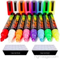 Chalk Markers by Vegas Wand with 8 Neon Wands and 2 Ink Erasers - B00GVTR96W