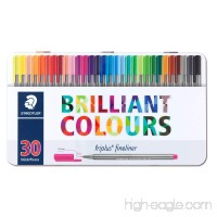 Staedtler Triplus Fineliner Pens - Metal Gift Tin of 30 Brilliant Colours - 0.3mm - B06XRJ8D2B