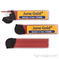 June Gold 330 Red Colored Lead Refills 0.7 mm Medium Thickness for Delicate/Gentle Use with Convenient Dispensers - B06XDF9THW