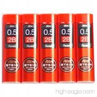 Pentel Ain Pencil Leads 0.5mm 2B  40 Leads X 5 Pack/total 200 Leads (Japan Import) [Komainu-Dou Original Package] - B00MIIFX8G