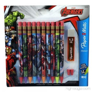 Papermate Marvel Avengers Mechanical Pencils-10 Pack Leads Erasers - B0176T67Q8