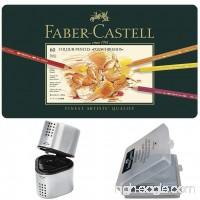 Faber Castell Premium Polychromos 60 Color Pencil Set  with BONUS Trio Pencil Sharpener  Art Eraser and CSS Coloring Book - B07CRRX2ST