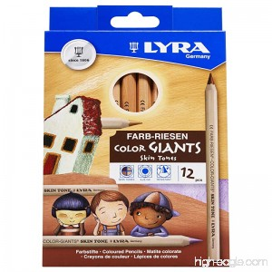 LYRA Color-Giants Colored Pencils Unlacquered 6.25 Millimeter Cores Assorted Skin Tone Colors 12 Count (3931124) - B003UTH6NC