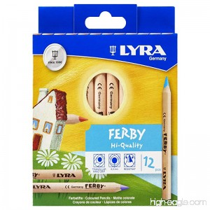 LYRA Ferby Giant Triangular Colored Pencils Unlacquered 6.25 Millimeter Cores Assorted Colors 12 Count (3611120) - B001AS6TB0