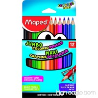 Maped Color'Peps Triangular Jumbo Colored Pencils Assorted Colors Pack of 12 (834049ZV) - B01EFKQD5G
