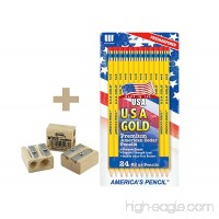 **BACK TO SCHOOL VALUE PACK** USA Gold Series #2 Pencils  Cedar  Yellow  24/Pk PRE SHARPENED + 1 KUM Wood Cutter 2-Hole Pencil Sharpener - B01E49PYXK