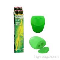 Dixon Ticonderoga Wood-Cased Pencils #2 HB Yellow Box of 12 Including FREE BONUS Double Hole Pencils Sharpener (Colors may vary) - B07CLKSJPW