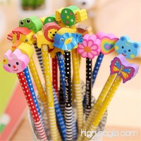Pack of 40 Colorful Novelty Cartoon Animals' Stripe Eraser Wood Pencils 7.28'' for Office School Supplies Students Children Gift (40pcs cartoon pencil with eraser) (Yansanido) - B0721WQBY5