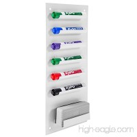 6-Slot Wall Mounted Metal Dry Erase Marker and Eraser Holder / Vertical Storage System White - B01MZ6YMW5