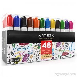 Arteza Dry Erase Markers White Board Pens 12 Colors Multicolor Set of 48 - B077CHNZLM