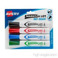 Avery Marks-A-Lot Dry Erase Markers  Assorted Colors (1 Black  1 Blue  1 Green  1 Red) Pack 4 (24409) - B000GRBEZC