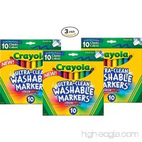 Crayola Ultraclean Broadline Classic Washable Markers (10 Count) (Pack of 3) - B014I1VZVY