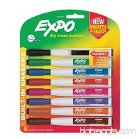 EXPO 1944748 Magnetic Dry Erase Markers with Eraser  Fine Tip  Assorted Colors  8-Count - B019QC70N2