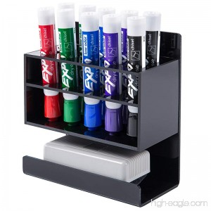 MyGift Wall-Mounted 2-Tier Black Acrylic 10-Slot Dry Erase Whiteboard Marker and Eraser Holder Stand - B01MT1UJJN