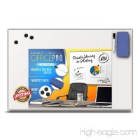 OfficePro Ultra-Slim  Lightweight Magnetic Dry Erase Board & Accessories (Includes Whiteboard Pen & Pen Tray  3 x Magnets & Eraser) - 24 x 36 Inch - B01E62SN1A