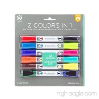 U Brands Low Odor Magnetic Double Ended Dry Erase Markers With Erasers  Bullet Tip  Assorted Colors  6-Count - B01LY9H349