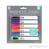 U Brands Low Odor Magnetic Dry Erase Markers With Erasers  Chisel Tip  Assorted Colors  6-Count - B01LZW66L2