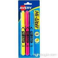 Avery HI-LITER Pen-Style Highlighters Assorted Colors (1 Fl. Yellow 1 Fl. Pink 1 Blue) Smear Safe Nontoxic Pack of 3 (25860) - B000NP15HO