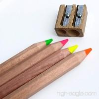 Jumbo Highlighter Pencils Set of 4 Neon Colors - Includes Wooden Sharpener - B01F7TVL8S