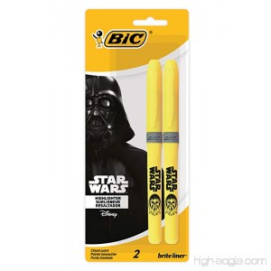 Star Wars BIC Brite Liner Grip Highlighter Chisel Tip Yellow 2-Count - B0758YRFWK