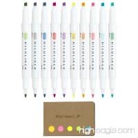 Zebra Mildliner Double-Sided Highlighter 10 Colors  Fine / Bold  Mild & Fluorescent Color  Cool & Refined Color  Sticky Notes Value Set - B07C548GF2