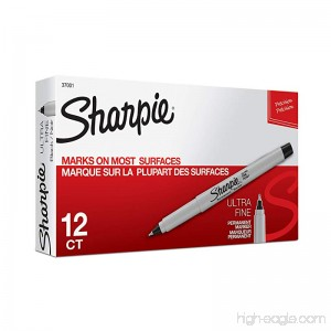Sharpie 37001 Permanent Markers Ultra Fine Point Black 12 Count - B00006IFI3