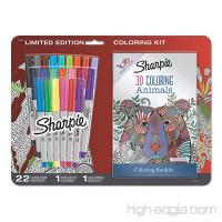 Sharpie Permanent Markers  Ultra Fine Point  Assorted Colors with 3D Animals Adult Coloring Booklet  24 Count - B072L8B7SQ