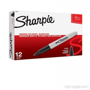 Sharpie Super Permanent Markers Fine Point Black 12 Count - B002764UJW