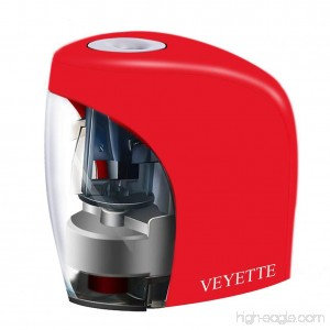Electric Pencil Sharpener VEYETTE Portable Electrical Pencil Sharpener for Colored Pencils Perfect for Kids Teachers and Artists Plug & Battery Operated Red - B0786ZH1YW