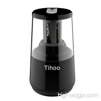 Tihoo Electric Pencil Sharpener with Safety Device  Fast Sharpen and Auto Stop for Regular and Colored Pencils  USB or AC or AA Battery Operated for Office  School  Home (Black) - B075Q86NS5