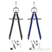2 Pack Geometry Compass Esee Math Compass Spring Bow Compass Drafting and Drawing Compass 6 inch Compass with Spare Leads and Screws - B07DNHJTP6