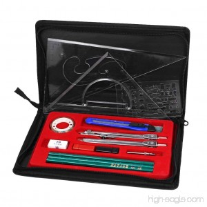 Bao Core Professional 16 Assorted Drawing Charting Set of Ruler 2H 2B HB Pencil Geometry Compasses Eraser in Zipper Case - B01GDPDQJC