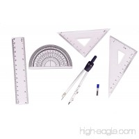 CDOFFICE Student Drawing Compass and Ruler Set Geometry Math Tools(Total 5 Pieces) - B07CKVX7N5