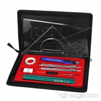 Clobeau Hight Quality Study 16-piece Compass and Geometry Kit Drawing Drafting Tools Set for Students with A Zipper Bag - B01J19NB4M