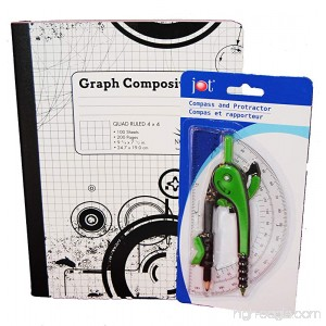 Geometry Compass Protractor and Composition Graphing Notebook - B01IQJQAM8