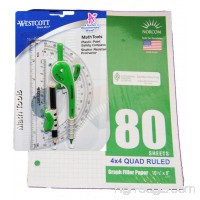 Geometry Set: 80 Sheets of 3 holed Graph Paper Compass and Protractor (blue/green) - B073Z61HJW